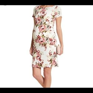 Pink Floral Fitted Short Sleeve Maternity Dress